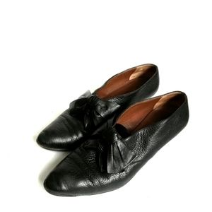 Petra Made In Italy Black Leather low chunky heels